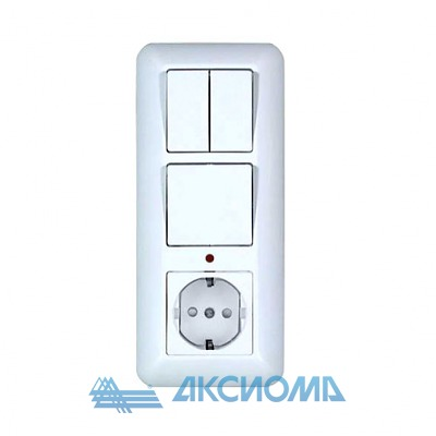 Блок БКВР 1-кл.+2-кл. выкл.+розетка с заземл. с инд. бел.(27) Прима Schneider electric